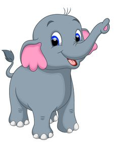 lovely cartoon elephant vector material 12