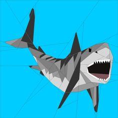 """Great White Shark 20"""" Paper Piecing Patterns quiltartdesigns.blogspot.com"""
