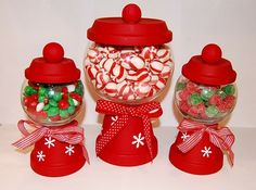 Christmas Candy dishes made with flower pots and rose bowls by cindy.buentello.73