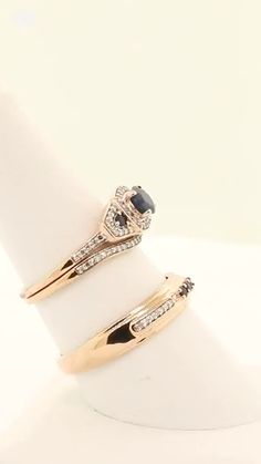 """The """"Claramay"""" Sapphire & Rose Gold Trio Ring Set - Verlobungs Rose Gold Wedding Jewelry, Sapphire Wedding Rings, Matching Wedding Rings, Three Rings, Coin Ring, Diamond Jewelry, Jewelry Collection, Engagement Rings, Dress Styles"""