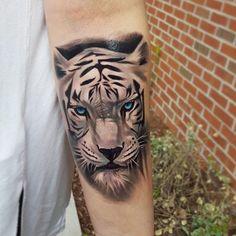White tiger tattoo by Tyler Malek