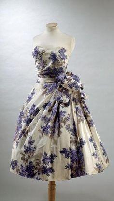 1955 taffeta heather print dress by Christian Dior