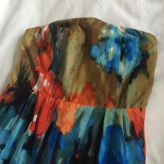 Anthropologie Watercolor Blue Orange Pencil Dress Beautiful and worn once!! Gorgeous watercolor nd super flattering! Anthropologie Dresses Midi