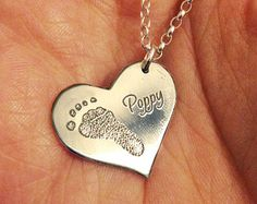 Footprint Necklace Silver Engraved Fingerprint by HannahJJewellery
