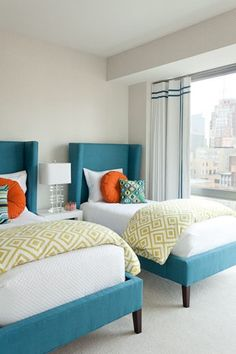 twin beds  upholstered headboard