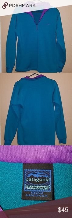 Patagonia capilene  half zip Purple and teal Patagonia capilene half zip sweater. In good condition. Some fuzzies as tried  to show in last picture. Patagonia Sweaters