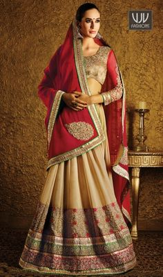 Jazzy Cream Color Embroidered Work Lehenga Saree Everyone will admire you when you wear this clad to elegant affairs. Spread the aura of freshness with this cream georgette lehenga saree showing a touch of sensuality. The embroidered, patch border, resham and zari work personifies the entire appearance. Comes with matching blouse