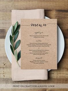 Items similar to 2 Sizes Rustic Menu Template Wedding Menu Printable Wedding Menu Template Menu Cards Menu Party Menu Printable Menu on Etsy – The Best Ideas Rustic Wedding Menu, Wedding Dinner Menu, Wedding Menu Cards, Wedding Stationery, Wedding Table, Wedding Catering, Diy Menu Cards, Wedding Invitations, Wedding Vintage