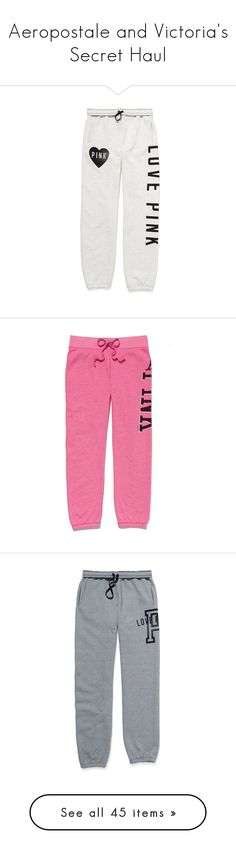 """Aeropostale and Victoria's Secret Haul"" by amyfashion ❤ liked on Polyvore featuring activewear, activewear pants, pants, bottoms, sweatpants, sweats, pajamas, victoria secret activewear, victoria's secret and heavy sweat pants"
