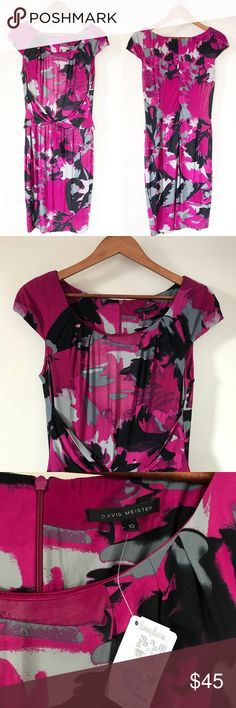 """NWT David Meister Floral Fuchsia Tie Career Dress David Meister floral watercolor cap sleeve tie front work / career Sheath dress. Beautiful dark fuchsia color, great professional dress or flattering wedding guest dress! • New with tags, no flaws • Cap sleeve, tie front style, scoop neck • Viscose spandex blend with a polyester lining • Approx. measurements when laid flat: 41"""" length, 36"""" bust David Meister Dresses Midi"""