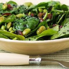 Wilted Spinach Salad with Edamame, Red Onion, and Black Sesame Seeds — Punchfork
