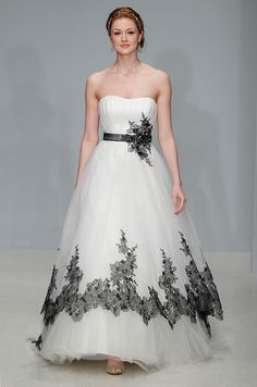 Alfred Angelo black and white wedding dress, Fall 2012. See more #wedding…