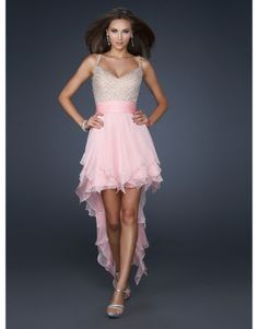 Pink A-line sweetheart spaghetti straps prom dress with beads and ruffles  US$168.00
