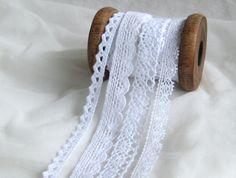 4 x 1 m zarte, filigrane, weiße Spitzen von StoffAmora auf DaWanda.com