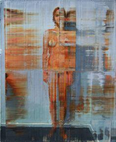 Nu em pé sobre fundo cinza. 50 cm x 61 cm. óleo sobre tela. Taigo Meirles. 2011.