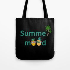 Summer Mood Pineapple Palm Trees Tote Bag by Pineapple Palm Tree, Tree Bag, Palm Trees, Reusable Tote Bags, Mood, Personalized Items, Summer, Palm Plants, Summer Time