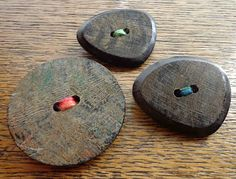 Wooden Button Brooches