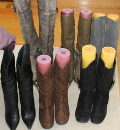 Keep your boots in good condition and from falling over with this Pool Noodle Hack from Angie's Look Book. Closet Hacks and Tips. Home Improvement and Spring Cleaning Ideas for your Nest. Ideas on Frugal Coupon Living. Laundry Room Storage, Closet Storage, Smart Storage, Boot Storage, Laundry Rooms, Organisation Hacks, Closet Organization, Organizing Shoes, Organizing Tips