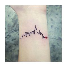 15 Of The Craziest New York City-Inspired Tattoos #refinery29 http://www.refinery29.com/nyc-inspired-tattoos#slide-11 When the city pulses through your veins, you know you're in it for life. Thank you, Hector Daniels, for promoting wearing our heart on our sleeve.