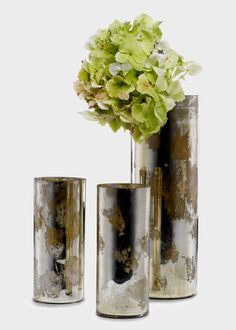 Mercury Glass Cylinders: For the vintage-look for weddings & events, consider these antiqued silver vases.