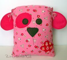 Sally the Puppy Dog Pink and Red Dog Pillow by 3LittleDutchKids, $31.00