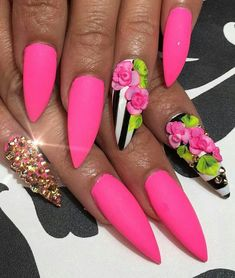 Matte pink floral striped stiletto nails with accent. Dope Nails, Get Nails, Hot Pink Nails, Wedding Nails Design, Nail Wedding, Bling Wedding, Pink Nail Designs, Manicure E Pedicure, Pedicure Ideas