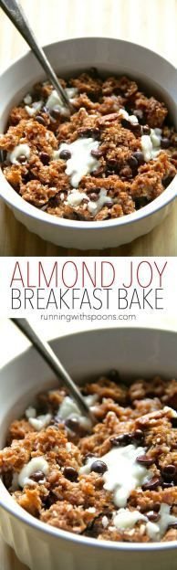 Almond Joy Breakfast Bake recipe - a soft and doughy oatmeal bake that combines the flavors of almonds, coconut, and chocolate in a healthy and delicious breakfast! Vegan and gluten-free. || runningwithspoons.com