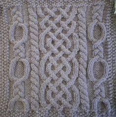 November Aran Afghan Square cable knitting