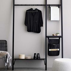 Mira Storage Rack Pine Black.  Mirror and Pockets included.   Designed in Denmark by Bloomingville.  Size: H 206cm x W 136cm