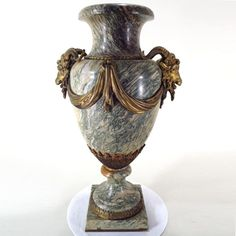 """c 1900 French Marble with Ormolu Vase  19""""H"""