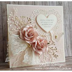 Mooie handgemaakte trouwkaart