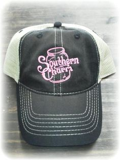 859e08cefdf Our vintage mesh back trucker hat. Pink Southern Charm
