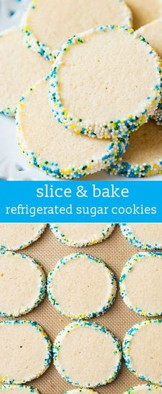 Looking for an easy sugar cookie recipe? You can mix up these Refrigerated Sugar Cookies in just 5 minutes. Perfect for slice and bake cookies! slice & bake / slice 'n bake / quick sugar cookies / overnight sugar cookies via (easy cookie recipes sugar) Quick Cookies, Buttery Cookies, Easy Sugar Cookies, Tea Cookies, Sugar Cookies Recipe, No Bake Cookies, Cookies Et Biscuits, Football Sugar Cookies, Baking Cookies