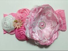 Tiara con flores de tela de razo y listón barrotado VIDEO No. 302 - YouTube