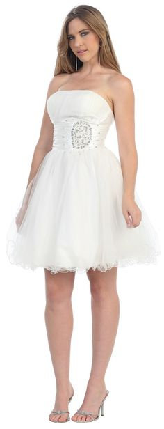 Short Cocktail Tulle Skirt Strapless Prom Formal Dress - The Dress Outlet - 13 Grad Dresses Short, Junior Prom Dresses, Short Bridesmaid Dresses, Bridesmaids, Wedding Dresses, Winter Formal Dresses, Plus Size Formal Dresses, Formal Prom, 8th Grade Graduation Dresses