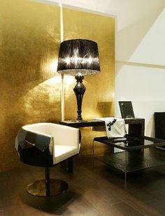 Fendi Casa Gold Ceiling, Gold Walls, Space Interiors, Futurama, Living Room  Designs e9cad947016