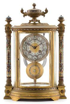 A VINCENTI ET CIE FRENCH BRONZE AND CHAMPLEVÉ CLOCK . Vincenti et Cie, France, circa 1900.