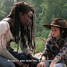 Reveling in Richonne The Chosen One of the main things keeping Richonne alive after was the amazing content we got between Michonne and their kids. Walking Dead Show, Walking Dead Season 9, Walking Dead Tv Series, Walking Dead Memes, Fear The Walking Dead, Judith Grimes, Rick Grimes, Judith Twd, Post Apocalyptic Series