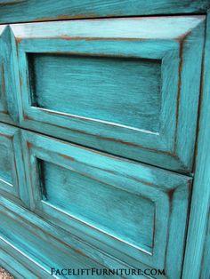 Turquoise Dresser with Heavy Black Glaze