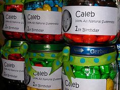 Cute idea for 1st birthday gifts for guests. The same idea can be applied (with a little creativity) to any party; birthday, baby shower, wedding shower, bachelorette party, etc.