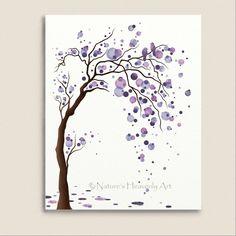 Love Bird Purple Watercolor Tree Art 11 x 14 by NaturesHeavenlyArt, $20.00