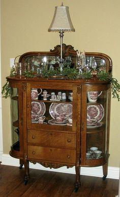 Oak Bow Front Cabinet