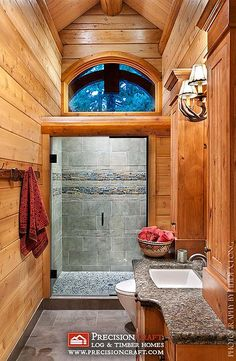 Log home bathroom - love the shower