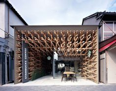 Japanese studio Kengo Kuma and Associates has designed the interior of this Starbucks is located in Fukuoka, the capital city of Fukuoka Prefecture on the island of Kyushu, Japan.