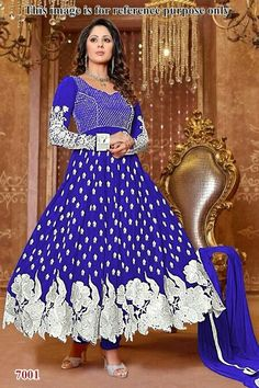547c6dcd042 Buy Blue embroidered georgette semi-stitched salwar with dupatta Online