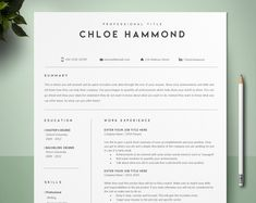 Resume Template, Professional Resume, CV Template, Modern Resume, Microsoft Word Resume, Creative Resume, Instant Download, 2 Pages Resume