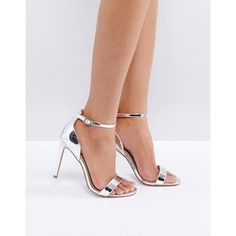 ASOS HANG TIME Barely There Heeled Sandals ($32) ❤ liked on Polyvore featuring shoes, sandals, silver, metallic heeled sandals, prom sandals, ankle strap heel sandals, ankle wrap sandals and silver shoes