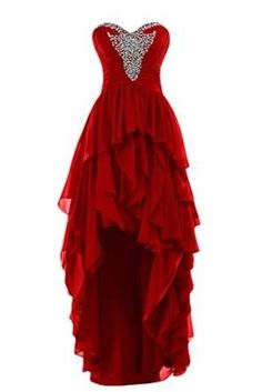 Beaded High Low Prom Dress,Layered Prom Dress,Red Prom