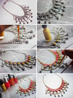 DIY Neon Necklace- hit up you costume jewelry and repurpose for the latest trend Diy Neon Necklace, Rhinestone Necklace, Necklace Ideas, Collar Necklace, Jewelry Crafts, Handmade Jewelry, Uñas Fashion, Fashion Ideas, Fashion Jewelry
