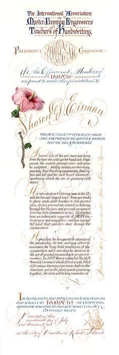 IAMPETH President's certificate rendered by Maria Thomas